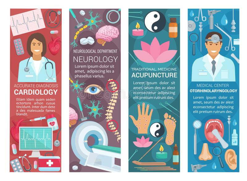 Kardiologi-, neurologi- och otolaryngologymedicin stock illustrationer