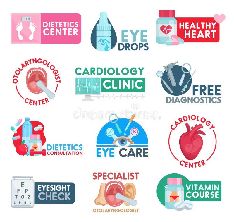 Kardiologi- och dietlärasjukvårdsymboler royaltyfri illustrationer