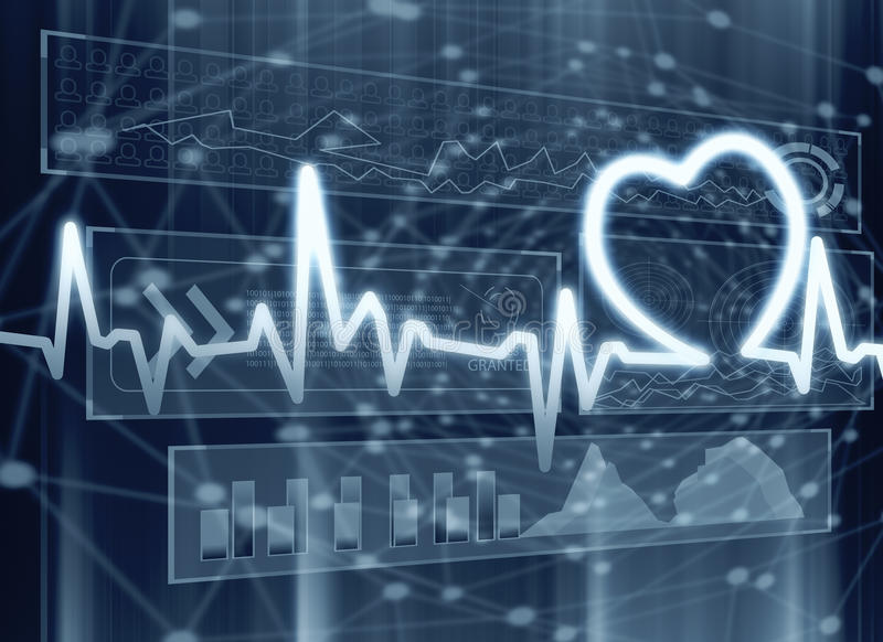 Kardiologie-, Medizin- und Innovationskonzept vektor abbildung