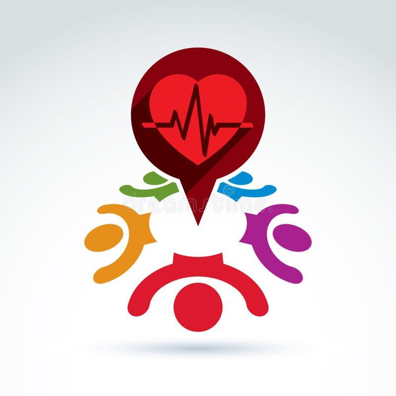 Kardiologie medizinisch und Gesellschaftskardiogramm-Herzschlagikone, Mediziner stock abbildung