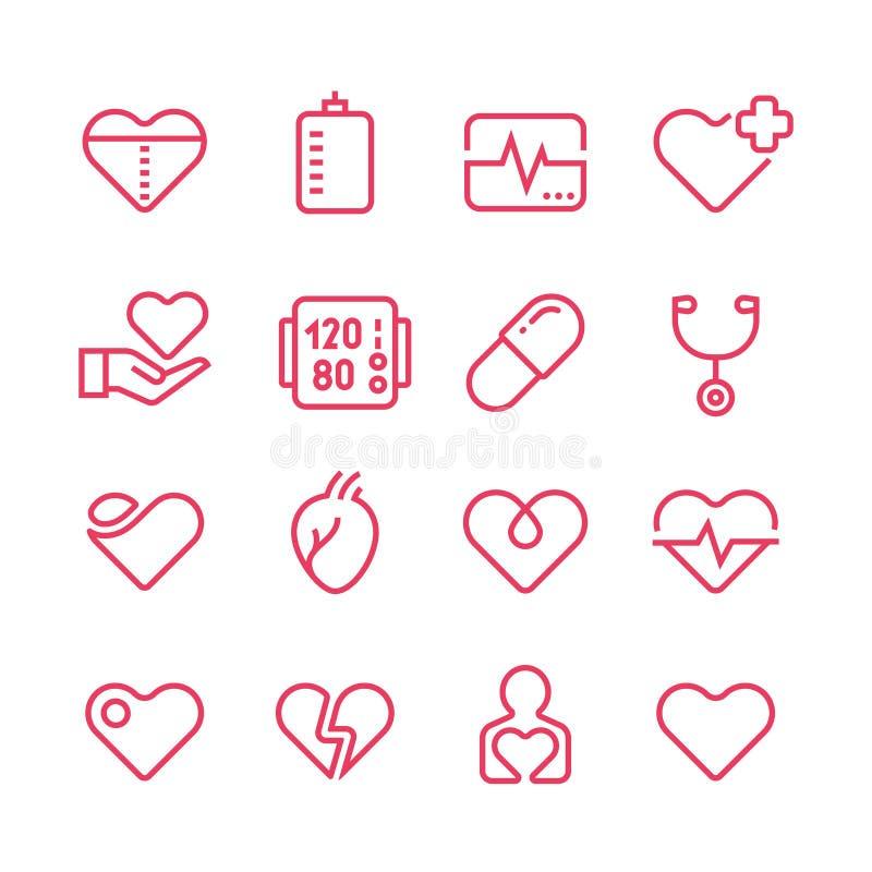 Kardiologiemedizin-Vektorlinie Ikonen Kardiologen- und Herzkrankheitsvektorsymbole vektor abbildung