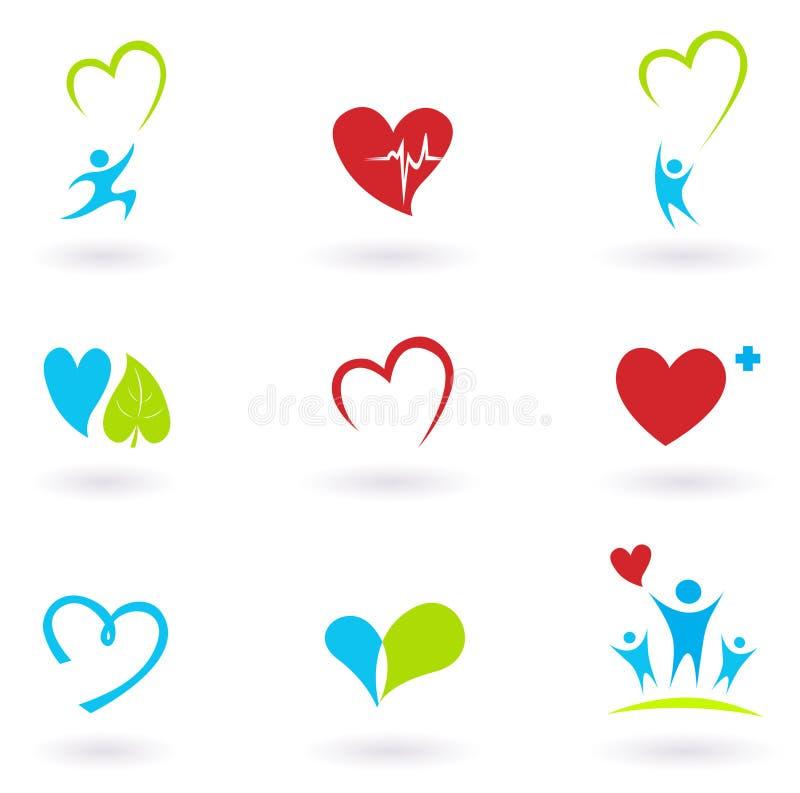 kardiologii zdrowie kierowe ikony medyczne ilustracja wektor