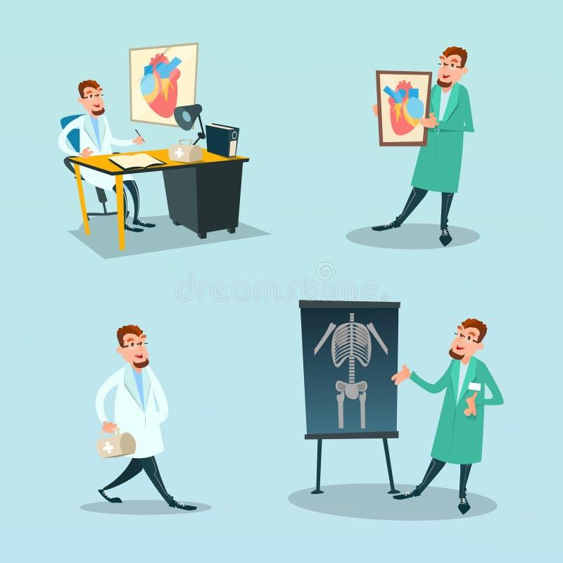 Kardiologimedicin för medicinsk doktor Set Surgeon And vektor illustrationer