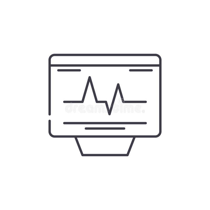 Kardiovaskulär kontrolllinje symbolsbegrepp Linjär illustration för kardiovaskulär kontrollvektor, symbol, tecken vektor illustrationer