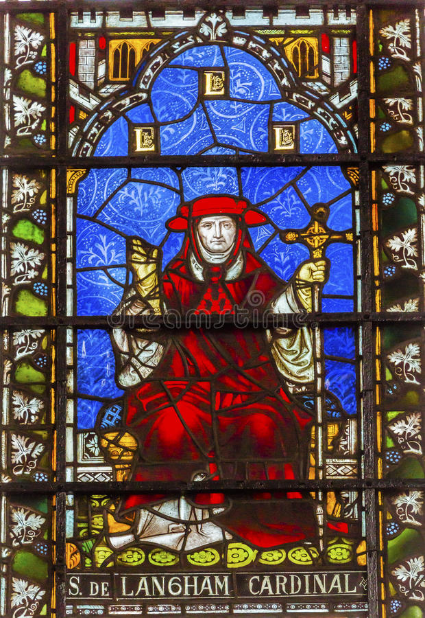 Kardynała Simon Langham witrażu opactwo abbey Londyn Anglia zdjęcia stock