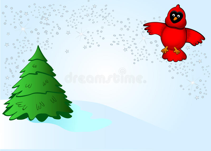 kardynała srebra śnieg royalty ilustracja