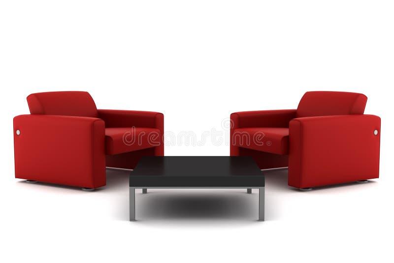 kareł odosobniony czerwony stołu dwa biel royalty ilustracja