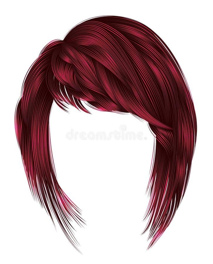 kare d'avanguardia dei capelli della donna con frangia medium l di colori rossi illustrazione di stock