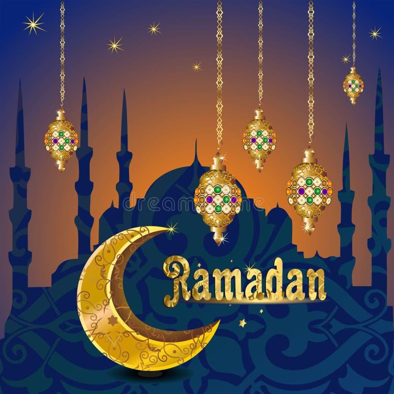 Kareem Рамазан с золотое роскошным crescen, вектор поздравительной открытки шаблона исламский богато украшенный иллюстрация штока