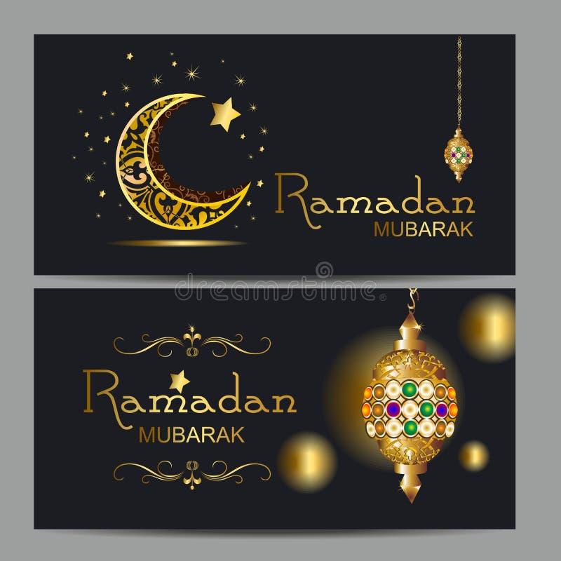 Kareem Рамазан с золотое роскошным crescen, поздравительная открытка шаблона исламская богато украшенная стоковая фотография
