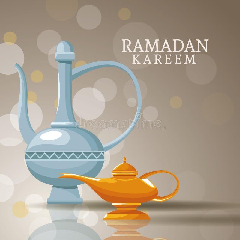 Kareem de Ramadan avec des symboles islamiques illustration de vecteur