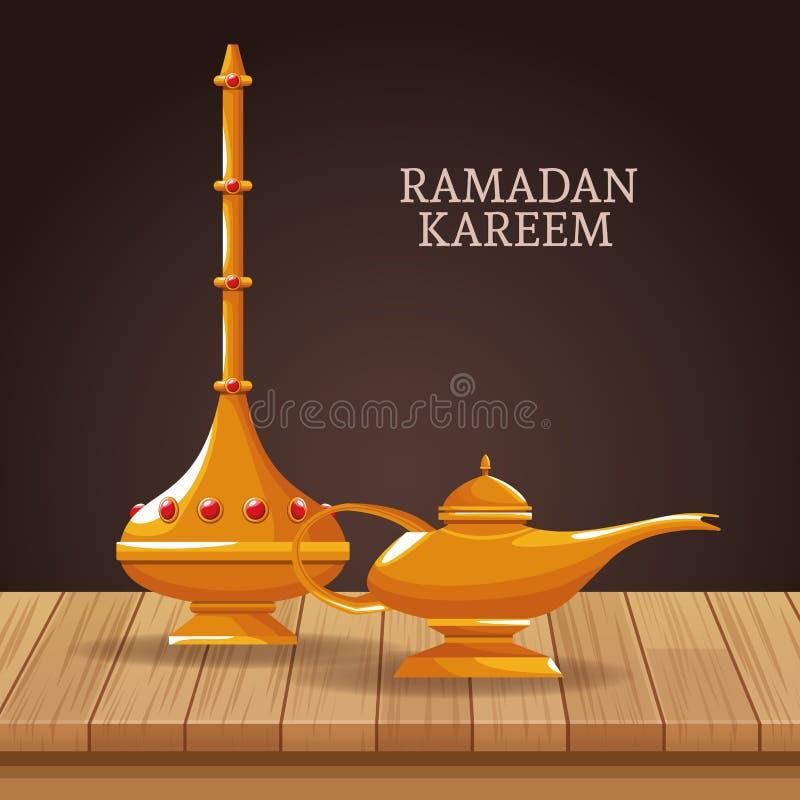 Kareem de Ramadan avec des symboles islamiques illustration libre de droits