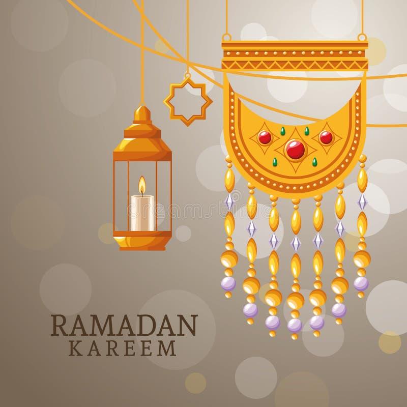Kareem de Ramadan avec des symboles islamiques illustration stock