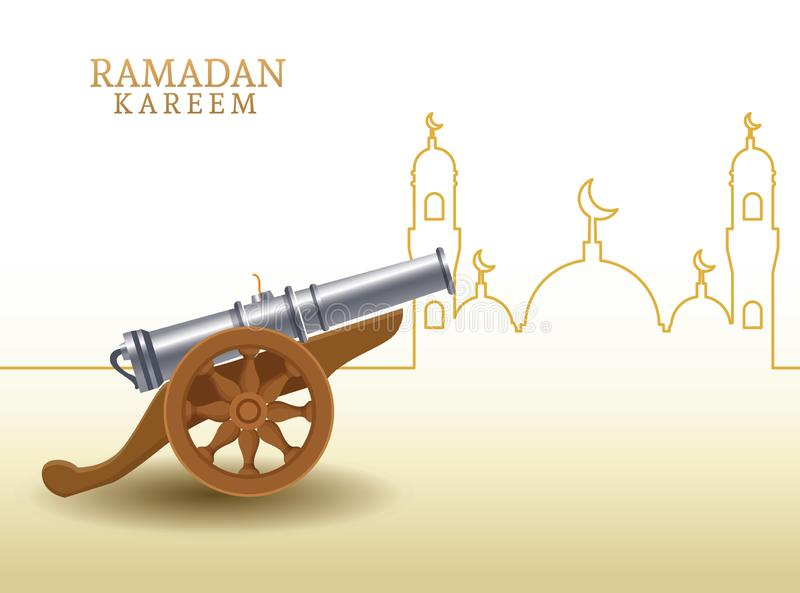 Kareem de Ramadan avec la forme de canon et de mosquée illustration stock