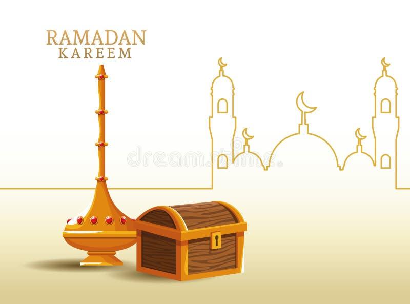 Kareem de Ramadan avec la forme de coffre et de mosquée illustration de vecteur
