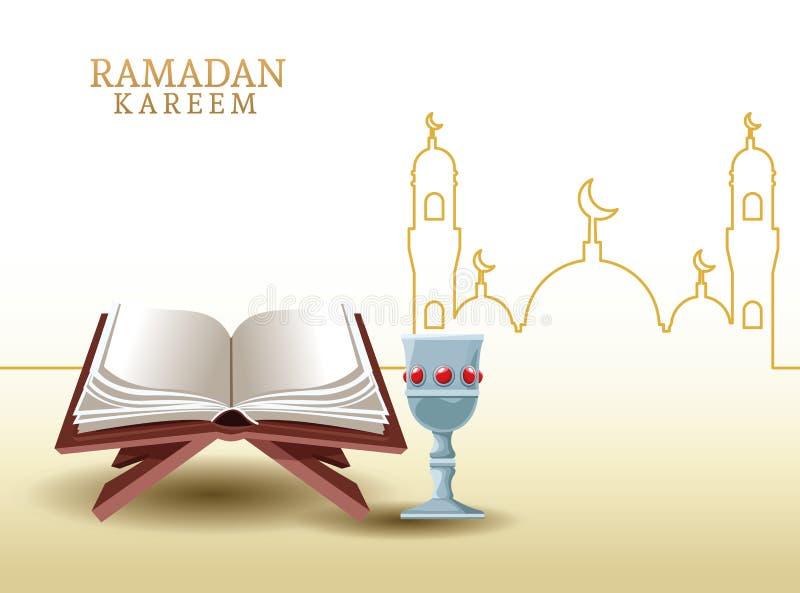 Kareem de Ramadan avec la forme de koran et de mosquée illustration de vecteur