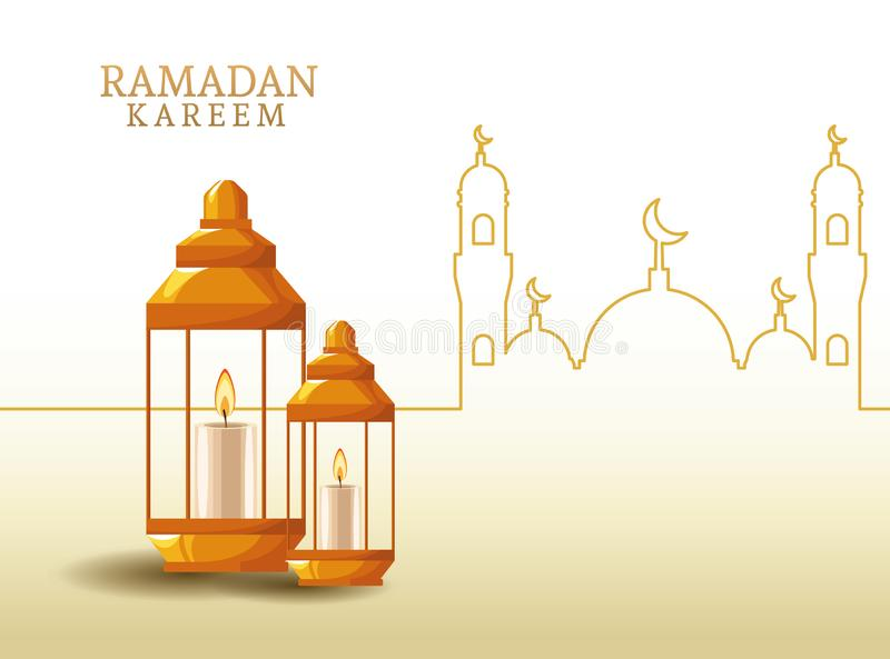 Kareem de Ramadan avec la forme de lanterne et de mosquée illustration de vecteur