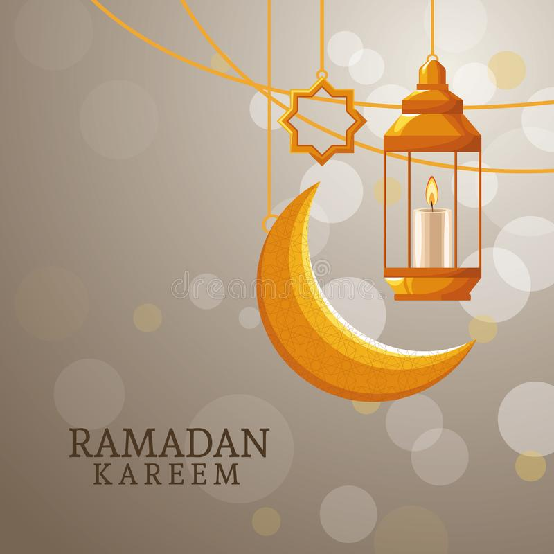 Kareem de Ramadan avec la lune de affaiblissement illustration stock