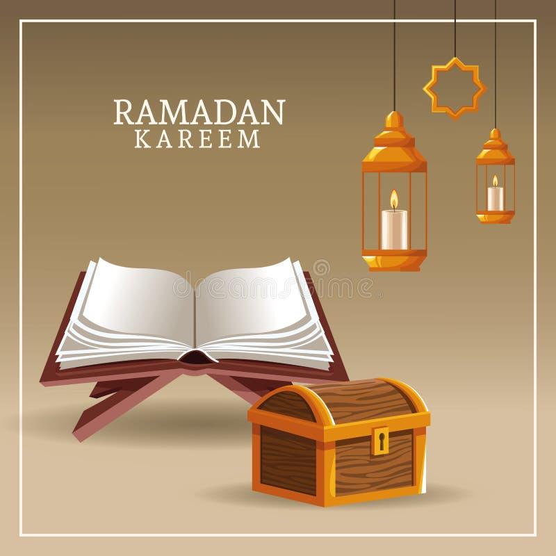 Kareem de Ramadan avec le koran et le coffre illustration de vecteur