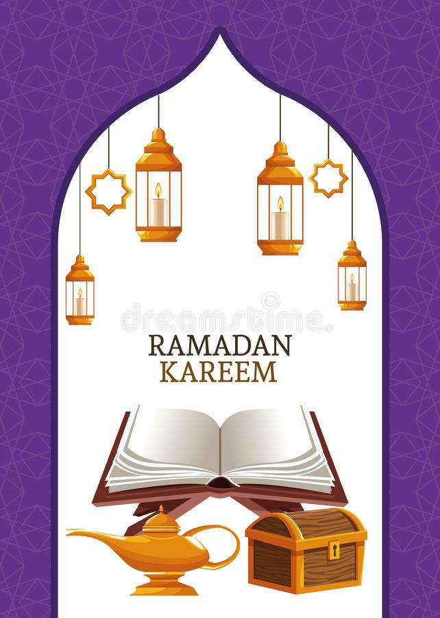 Kareem de Ramadan avec le koran et le coffre illustration stock