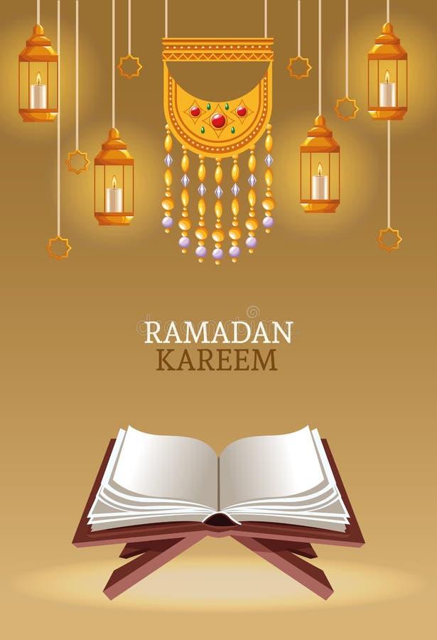 Kareem de Ramadan avec le koran et les lampes illustration libre de droits