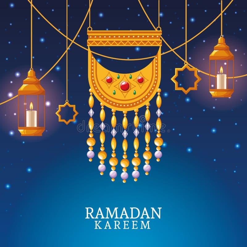 Kareem de Ramadan avec le pendant et l'art islamique illustration stock
