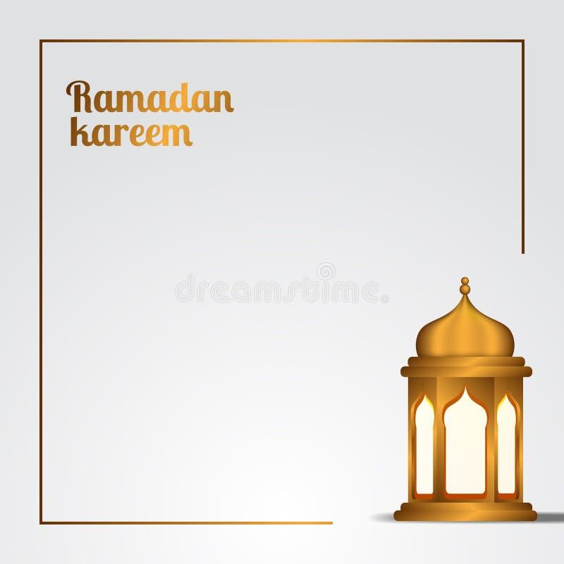 Kareem de Ramadan et espace blanc élégant d'illustration de Mubarak avec la lanterne traditionnelle d'or illustration stock