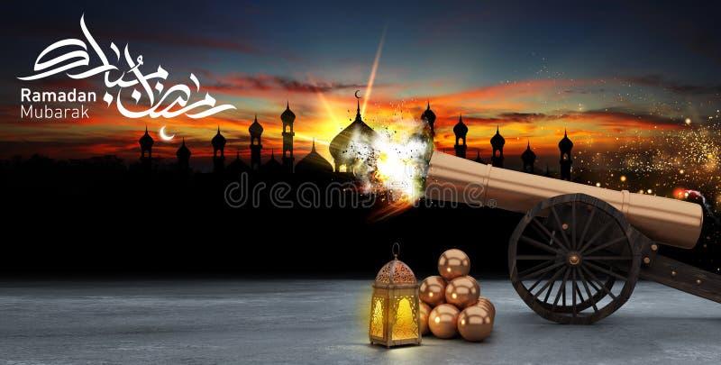 Kareem de Ramadan, lanternes, tir de canons photos libres de droits