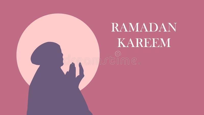 Kareem del fondo del Ramadán con las mujeres hermosas que ruegan libre illustration