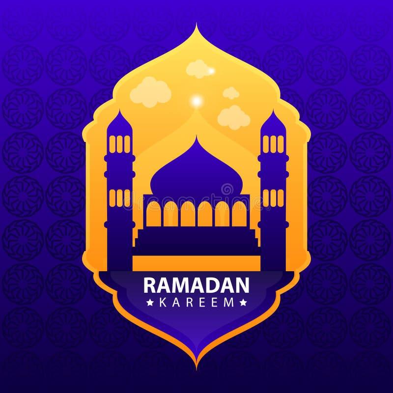 Kareem del Ramadan su fondo astratto blu illustrazione vettoriale