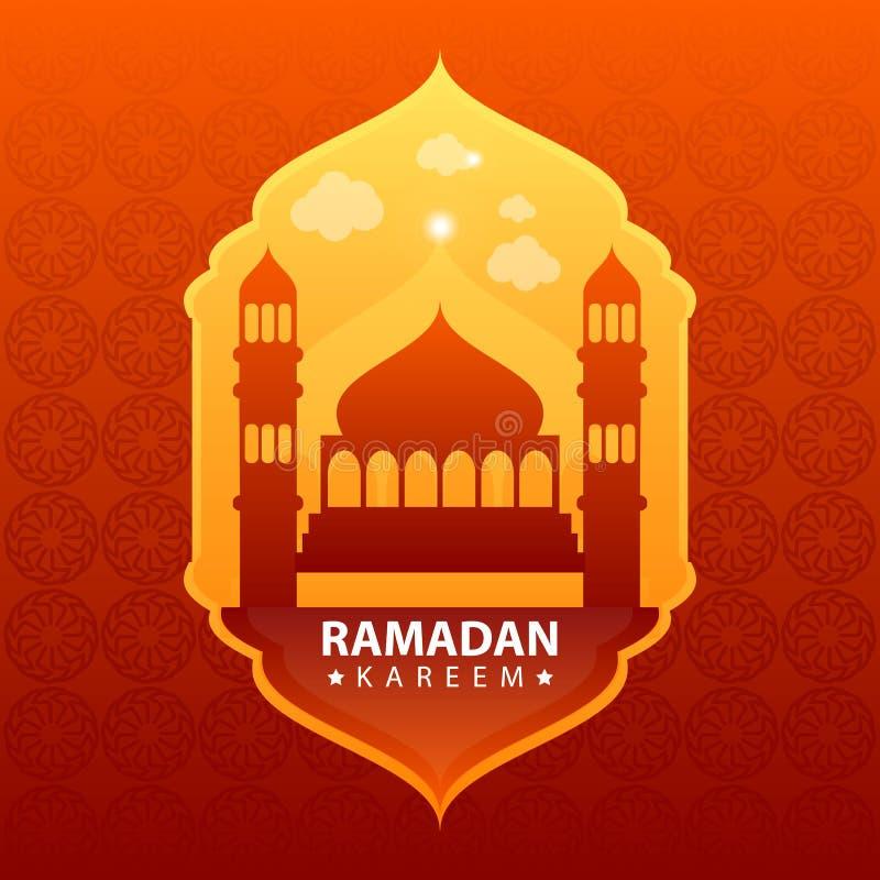 Kareem del Ramadan su fondo astratto rosso illustrazione vettoriale