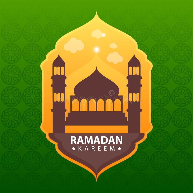 Kareem del Ramadan su fondo astratto verde illustrazione vettoriale