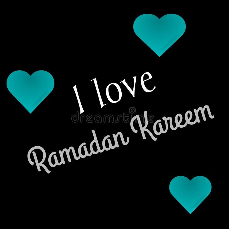 Ευχετήρια κάρτα του Kareem Ramadan Αγαπώ το κείμενο Ramadan Kareem στο μαύρο υπόβαθρο, Ramadhan Μουμπάρακ ελεύθερη απεικόνιση δικαιώματος