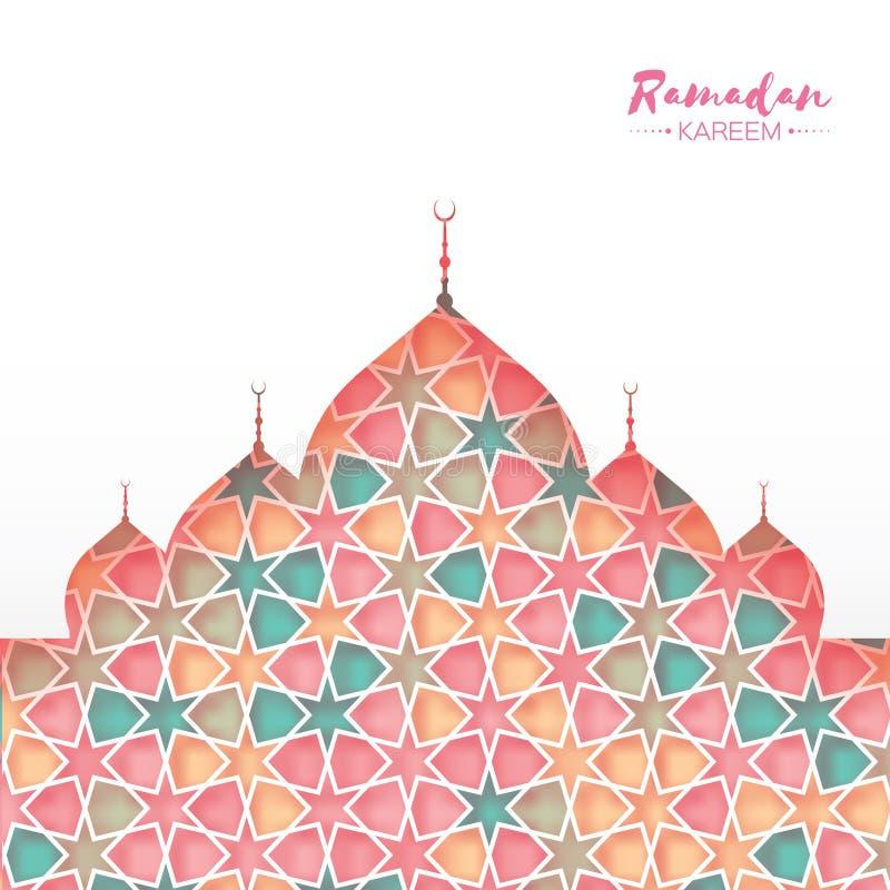 kareem ramadan Το ρόδινο διακοσμητικό αραβικό σχέδιο με το μουσουλμανικό τέμενος στο έγγραφο έκοψε το ύφος Σχέδιο Arabesque απεικόνιση αποθεμάτων