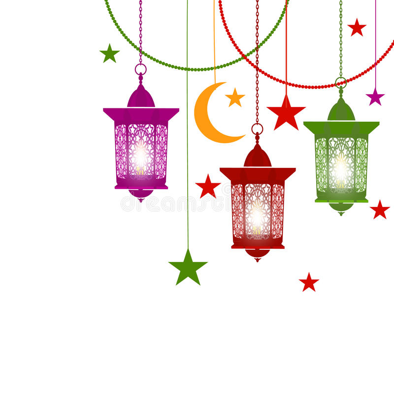 kareem ramadan Красочные фонарики в восточном стиле на цепях С горящими свечами Звездочки, полумесяц Изолированный дальше иллюстрация штока