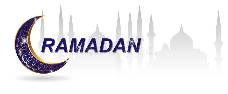 kareem ramadan Поздравительная открытка шаблона исламская богато украшенная Золотые роскошные crescen r иллюстрация вектора
