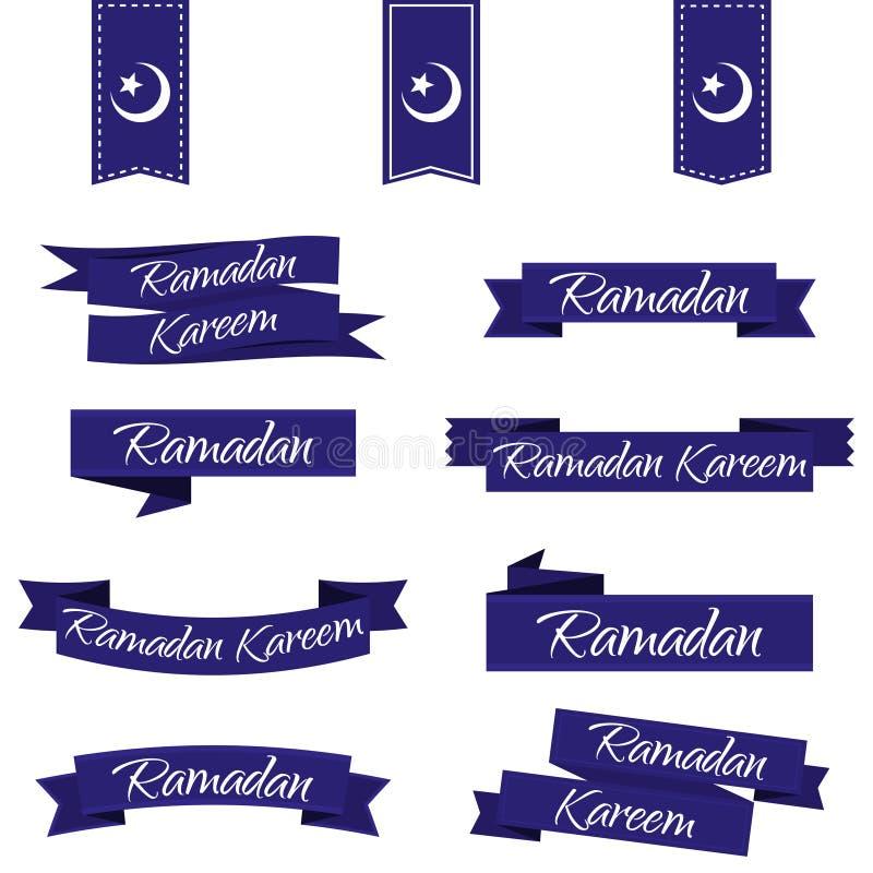 kareem Ramadan Tasiemkowy ustawiający w błękicie Wektorowa ilustracja EPS10 royalty ilustracja