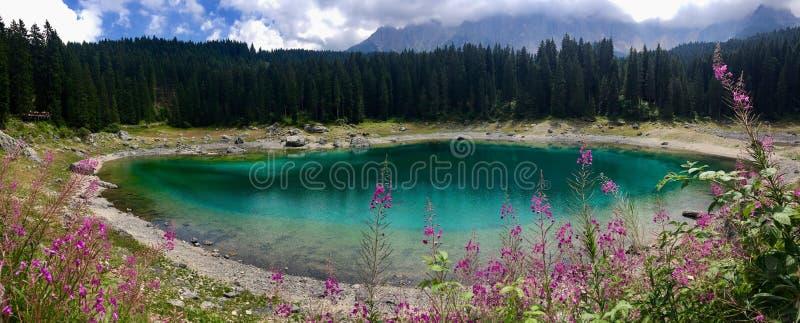 Kareersee lake dolomites stock photos