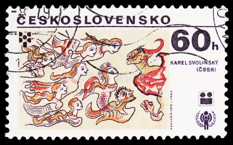 Karel Svolinsky, Checoslováquia, ano internacional do serie da criança, cerca de 1979 foto de stock royalty free