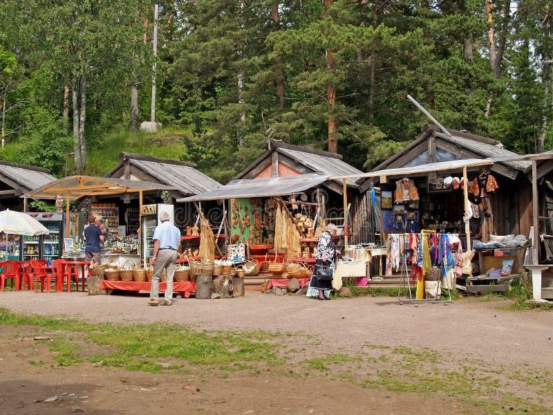 Karelië, Rusland Herinneringscabines op het Eiland Valaam stock afbeeldingen