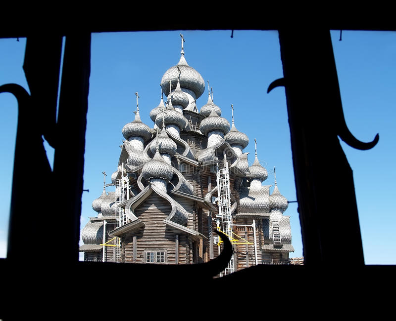 Karelia, Kizhi. A view of Church of the Transfiguration from a window royalty free stock images