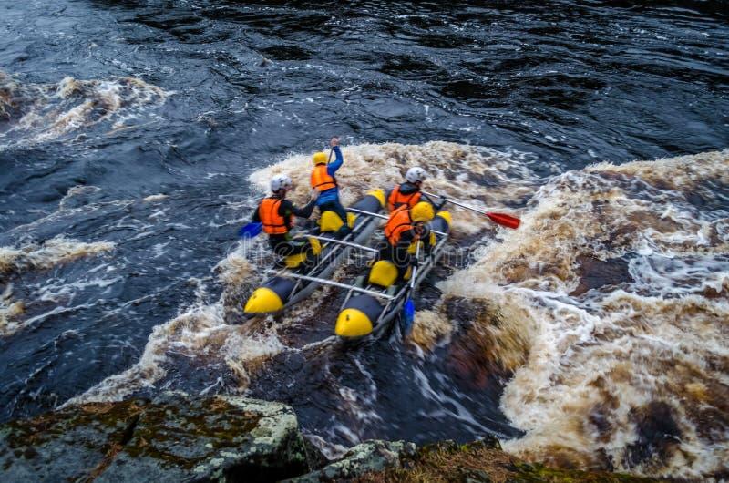 Karelia rafting arkivbild
