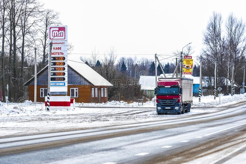 Truck in a parking lot in Karelia royalty free stock photo