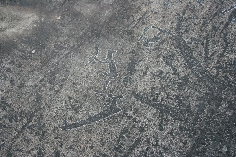 Karelische Petroglyphen Felsmalereien stockbilder