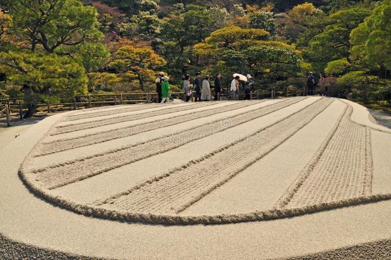 Karesansui van Japanse tuin in Ginkakuji-Tempel royalty-vrije stock afbeeldingen