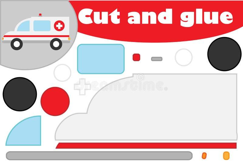 Karetka w kreskówka stylu, edukacji gra dla rozwoju preschool dzieci, używa nożyce i kleidło tworzyć aplikację ilustracja wektor