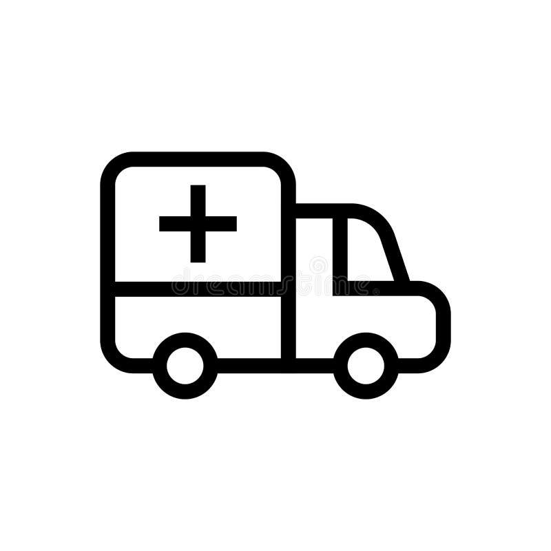 Karetki ikony ciężarowy przeciwawaryjny samochodowy projekt kreskowej sztuki pojazdu medyczna ilustracja royalty ilustracja