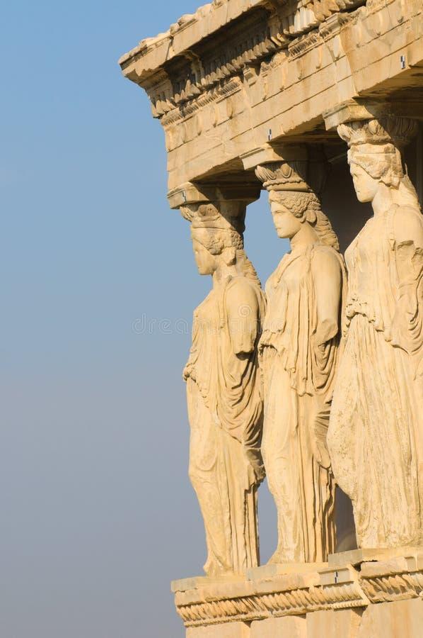 Kariatiden, akropolis, Athene stock afbeelding