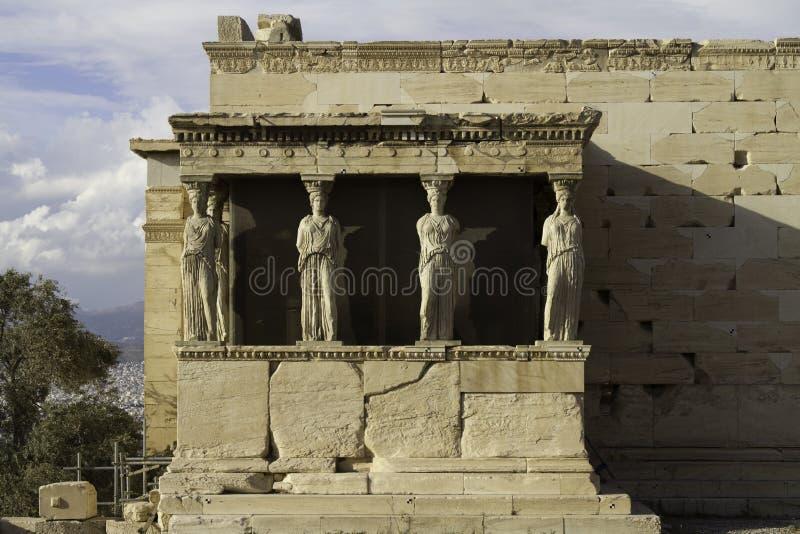 Kariatiden in Erechtheum, Akropolis, Athene, Griekenland stock afbeelding