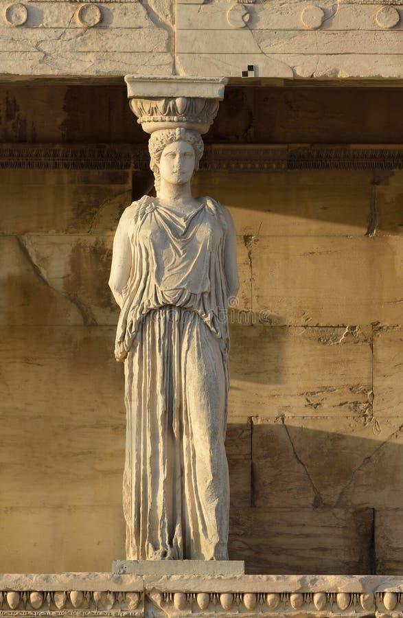 Kariatyda Erechteion, Parthenon na akropolu w Ateny zdjęcia royalty free